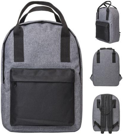 Рюкзак-сумка ACTION, городской, размер 38x27x12 см, мягкая спинка, серый с черным карманом, унисекс рюкзак сумка action городской размер 38x27x12 см мягкая спинка серый с черным карманом унисекс