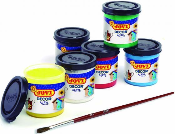 Краски JOVI 670 Акриловые 6 цв*55мл с кистью краски jovi краски для рисования руками jovi 5 цв 35 мл
