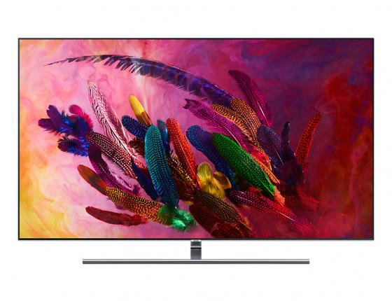 Телевизор QLED Samsung 75 QE75Q7FNAUXRU серебристый/Ultra HD/1400Hz/DVB-T2/DVB-C/DVB-S2/USB/WiFi/Smart TV (RUS) satellite tv box v8 golden combo dvb s2 dvb t2 dvb c cable box tv decoder cccam 3g usb wifi web tv supported digital set top box