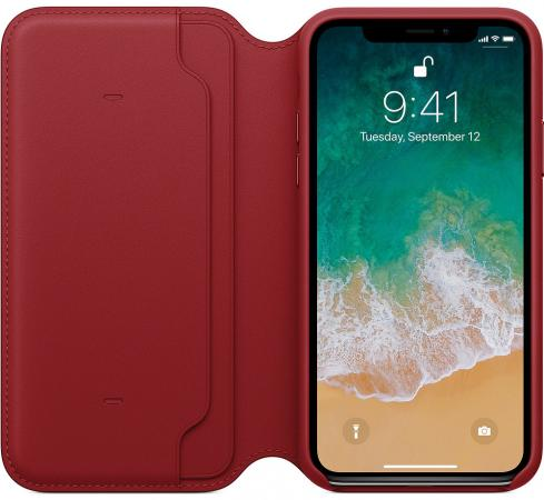Чехол-книжка Apple Folio для iPhone X красный MRQD2ZM/A чехол для apple iphone 8 7 silicone case white