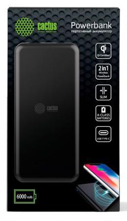 Мобильный аккумулятор Cactus CS-PBHTWL-6000 Li-Pol 6000mAh 2.1A черный 1xUSB