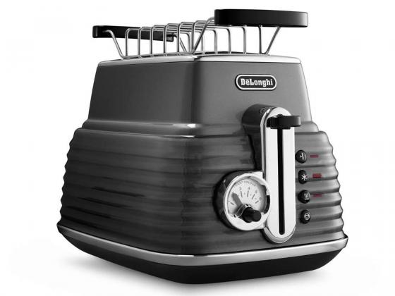 Тостер DeLonghi CTZ 2103 GY, 900Вт, на 2 тоста, разморозка, решетка, поддон, серый тостер kenwood ttm 020 gy 900вт 5реж