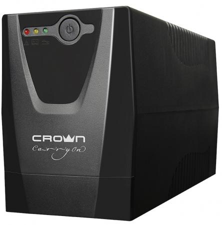 UPS CROWN 500VA / 240W, plastic, 1x12V / 4,5AH, sockets 1 * EURO + 1 * IEC, transformer AVR 220/230 / 240V + -25%, USB port, 1.2m cable, protection: batteries, from overload, from Short-circuit, input voltage filtering
