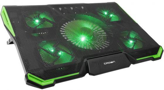 CROWN Подставка для ноутбука CMLS-k332 GREEN ( до 19 Размер 410*292*29мм , кулеры: D140mm*1+ D80mm*4, зелёная led подсветка, регулятор скорости, 7 уровней наклона)