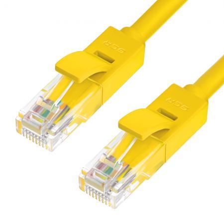 Greenconnect Патч-корд прямой, малодымный LSZH 0.5m UTP кат.5e, желтый, 24 AWG, литой, ethernet high speed 1 Гбит/с, RJ45, T568B, GCR-50701(GCR-50701) powersync cat 7 rj45 high speed ethernet cable dark blue 10m