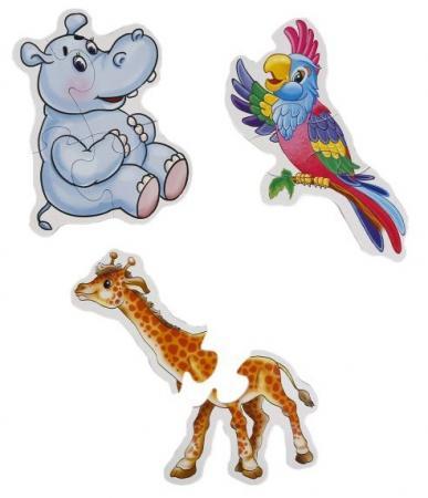 Макси-пазл 6 деталей УМКА Дикие животные макси раскраски дикие животные