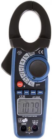 Клещи токоизмерительные CEM DT-3343 для постоянного тока, с датчиком температуры до 1000°C токоизмерительные мини клещи cem fc 35 600в фонарик