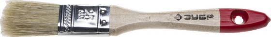 Купить Кисть плоская ЗУБР 4-01001-025 УНИВЕРСАЛ-СТАНДАРТ натуральная щетина, деревянная ручка, 25мм, Зубр, красный, серый