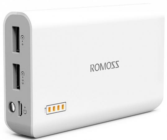 Фото - Универсальный внешний аккумулятор для цифровой техники ROMOSS Solo 3 на 6000mAh (22Wh) USB 5V 2.1А / 1A. Белый. внешний аккумулятор для портативных устройств hiper circle 500 blue circle500blue