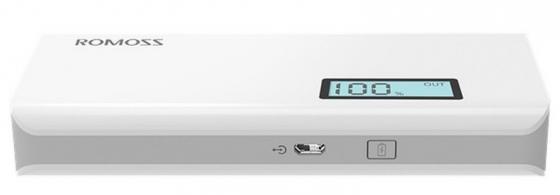 Универсальный внешний аккумулятор для цифровой техники ROMOSS Solo 5 Plus на 10000mAh (37Wh) USB 5V 2.1А / 1A. Белый. romoss sailing 2