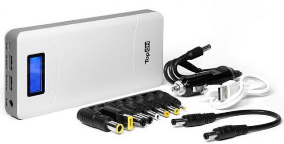 Универсальный внешний аккумулятор 18000mAh (66.6Wh) с 2 USB-портами и QC 2.0, для зарядки ноутбука, планшета, смартфона и аккумулятора авто. Белый.
