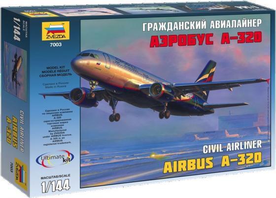 Самолёт Звезда АЭРОБУС А-320 1:144 серый revell самолёт аэробус a380 lufthansa 1 144