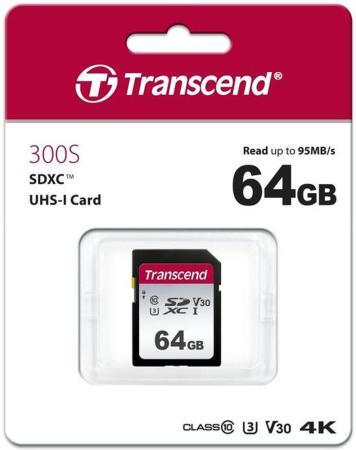Флеш-накопитель Transcend Карта памяти Transcend 64GB UHS-I U3 SD card TS64GSDC300S transcend jetdrive lite 330 64gb карта памяти для macbook pro retina 13