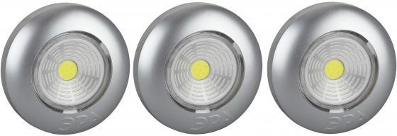ЭРА Б0031043 Фонарь-подсветка SB-504 Аврора серебристый (упак. 3 шт) {СОВ диод, самоклеющаяся поверхность, 3хААА в комплект не входят}