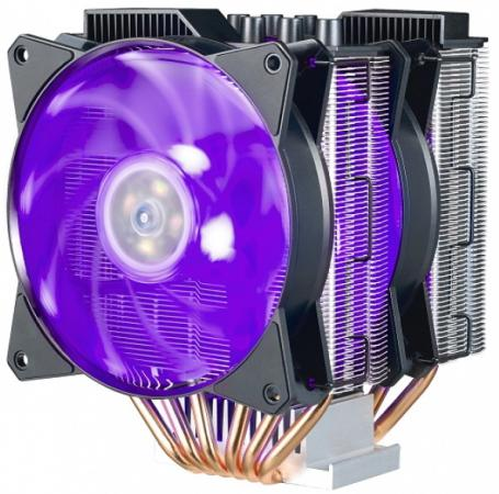 Cooler Master CPU Cooler MasterAir MA621P, 600-2400 RPM, 200W, RGB LED fan, RGB lighting controller, Full Socket + TR4 Support alseye pc fan controller 6 channels with dual magnetic rgb led strips case light fan speed and rgb controller