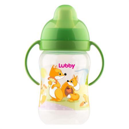 Поильник-непроливайка Lubby Веселые животные с твердым носиком от 6 месяцев 250 мл пенка для купания детская lubby 250 мл от 0 месяцев