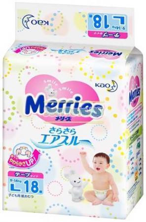 Подгузники Merries L (9-14 кг) 18 шт