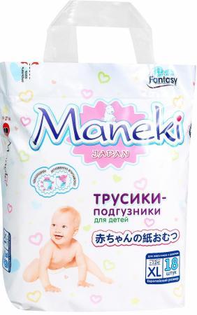 Подгузники-трусики Maneki Fantasy XL (12+кг) 18 шт imsevimse трусики для купания xl 11 14 кг