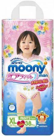 Трусики для девочек Moony XL (12-17 кг) 38 шт трусики подгузники moony для девочек 12 17 кг 38 шт xl