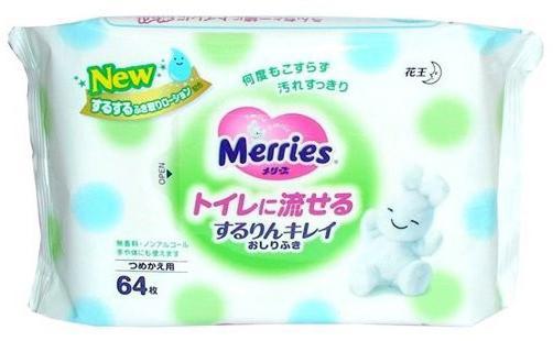 Салфетки влажные Merries 4901301-239983 64 шт детские merries детские влажные салфетки merries flushable 64 шт запасной блок
