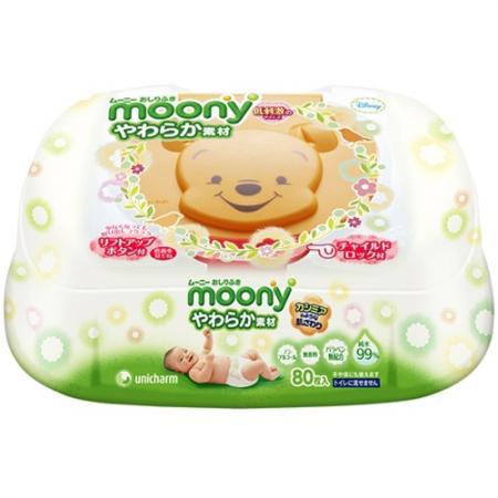 цены Влажные гигиенические салфетки для детей Moony 80 шт.контейнер