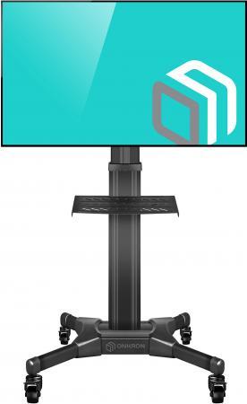 Фото - Мобильная стойка ONKRON TS2551 на 1 ТВ/ 32-55 от 200х200 до 400х600 кабель-канал регулировка полки по высоте колесики с блокировкой черная кабель канал tdm sq0402 0003 20х10 белый