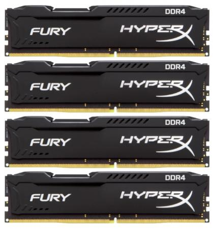 Kingston DDR4 DIMM 64GB Kit 4x16Gb HX424C15FBK4/64 {PC4-19200, 2400MHz, CL15, HyperX Fury Black} dimm ddr4 8гб kingston hyperx fury black hx429c17fb2 8