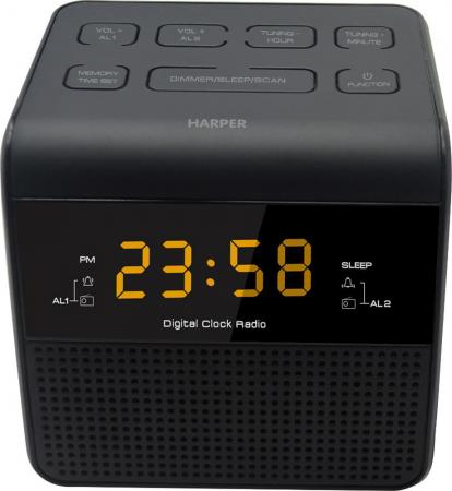 лучшая цена Радиобудильник HARPER HRCB-7750 (Радио в качестве мелодии будильника, настройка двух будильников, 20 радиостанций, сеть или батарейки)