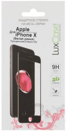 Защитное стекло 3D LuxCase 77310 для iPhone X (белая рамка)