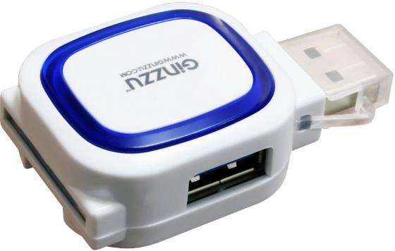 Картридер универсальный Ginzzu GR-514UW USB 2.0, SD/SDXC/SDHC/MMC microSD/SDXC/SDHS + концентратор: порт USB 3.0 + порт USB 2.0, белый, блистер sdxc