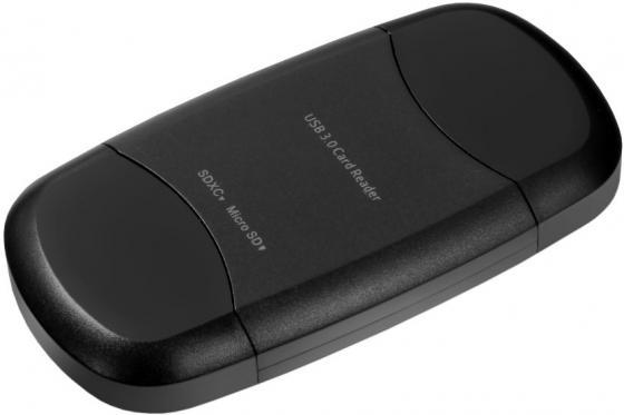 Картридер Ginzzu GR-313B с интерфейсом USB 3.0, SD/SDXC/SDHC/MMC и microSD, черный цена и фото