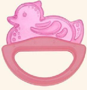 Погремушка с эластичным прорезывателем Canpol арт. 13/107, 0+ мес., цвет розовый, форма уточка