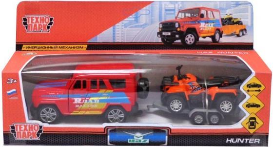 Внедорожник Технопарк UAZ HUNTER красный SB-17-77WB игрушка технопарк uaz hunter с квадроциклом в прицепе sb 17 77wb