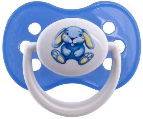 Пустышка симметричная Canpol Milky силикон, 6-18 мес., арт. 22/542, цвет голубой, форма: зайка пустышка симметричная canpol milky силикон 0 6 мес арт 22 541 цвет салатовый форма мишка