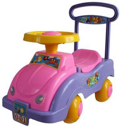 цена Каталка-беговел четырёхколёсный Совтехстром АВТОМОБИЛЬ-КАТАЛКА розово-фиолетовый У447