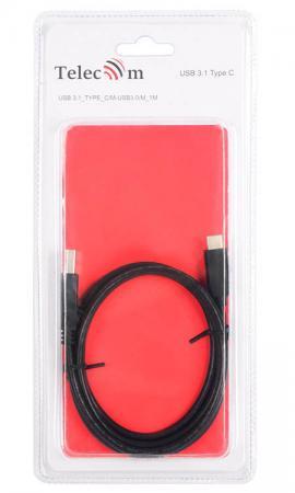 Кабель Type-C USB 3.0 1м VCOM Telecom TC401-1M круглый черный usb кабель type c dotfes a06t dual color 1m black
