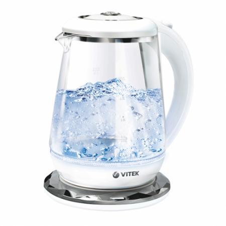 Чайник Vitek 7051(MC) 2200 Вт белый 1.7 л стекло недорого