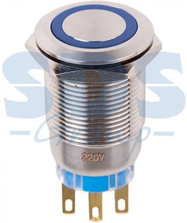 Кнопка антивандальная O19 12В Б/Фикс (5с) (ON)-OFF/(OFF)-ON синяя REXANT