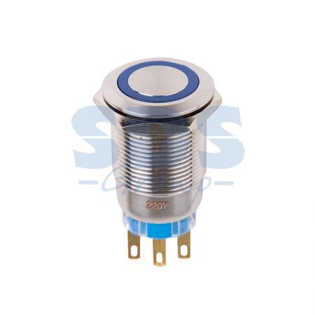 Кнопка антивандальная O19 250В Фикс (5с) ON-OFF/OFF-ON подсв/синяя REXANT