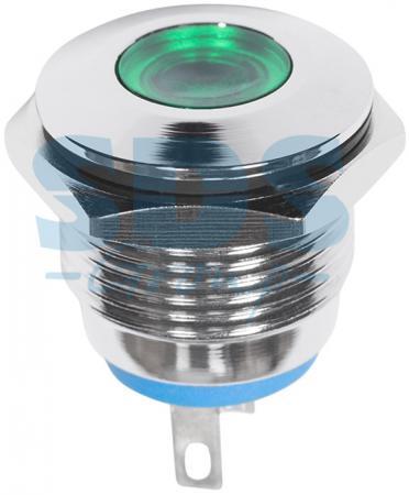 Индикатор металл O16 12В подсв/зеленая LED REXANT