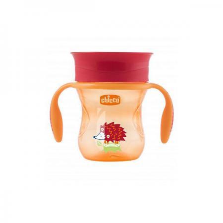 Чашка-поильник Chicco Perfect Cup (носик 360), 12 мес.+, 266 мл, цвет красный, рисунок ёжик