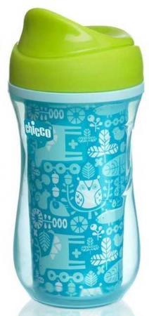 Чашка-поильник Chicco Active Cup (носик ободок), 14 +, 266 мл, 00006981200050, голубой/орнамент