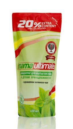 Концентрированное средство для мытья посуды Mama Ultimate Зеленый чай запасной блок 600 мл запаснойблокдляунитазаморская