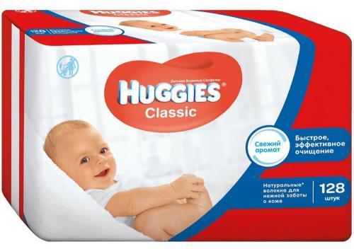 Салфетки влажные Huggies Classic 128 шт детские 2398565 marusan mimi pika ватные палочки для гигиенических процедур 200 шт