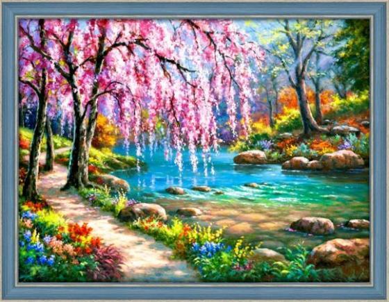 Алмазная живопись Сакура у реки 40*30 масляная живопись yue hao yh0334 7585
