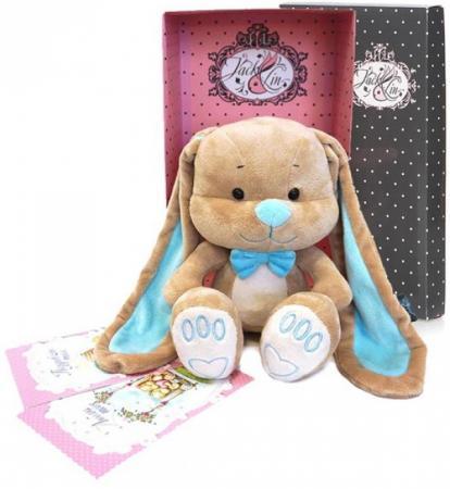 Мягкая игрушка зайчик с бабочкой Jack Lin JL-014-25-КСО 25 см голубой бежевый текстиль искусственный мех наполнитель d lin d110427