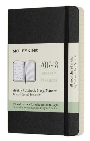 Еженедельник Moleskine ACADEMIC SOFT WKNT Pocket 90x140мм датир.18мес 208стр. мягкая обложка черный еженедельник moleskine classic wknt pocket soft 90x140мм 144стр мягкая обложка черный