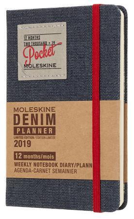 Еженедельник Moleskine Limited Edition DENIM WKNT Pocket 90x140мм 144стр. черный еженедельник moleskine classic wknt pocket 90x140мм 144стр фиксирующая резинка черный