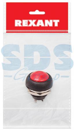 Выключатель-кнопка 250V 1А (2с) (ON)-OFF Б/Фикс красная Micro (PBS-33В) REXANT Индивидуальная упаковка 1 шт