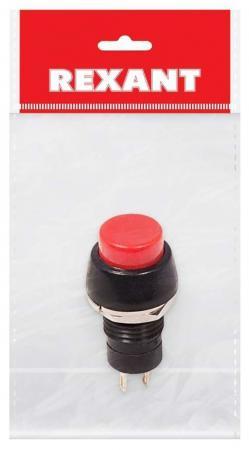 Выключатель-кнопка 250V 1А (2с) ON-OFF красная Micro (PBS-20А) REXANT Индивидуальная упаковка 1 шт